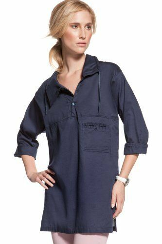 LACOSTE Voile Woven Tunic Pool Beach COVER UP 34 36 38 40 NAVY NWT  195
