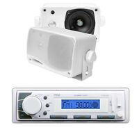 Pyle Marine Am/fm Receiver Stereo Usb/sd Aux Player W/ 200w Speakers Kit
