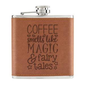 Cafe-Sent-Comme-Magique-Et-Fairy-Tales-170ml-Cuir-PU-Hip-Flasque-Fauve-Addict