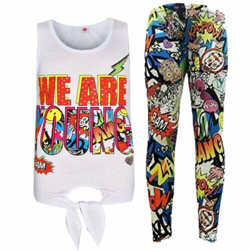 Ragazze Bambini Tops siamo giovani Stampa T Shirt Top /& FUMETTI Legging Set 7-13 Anno
