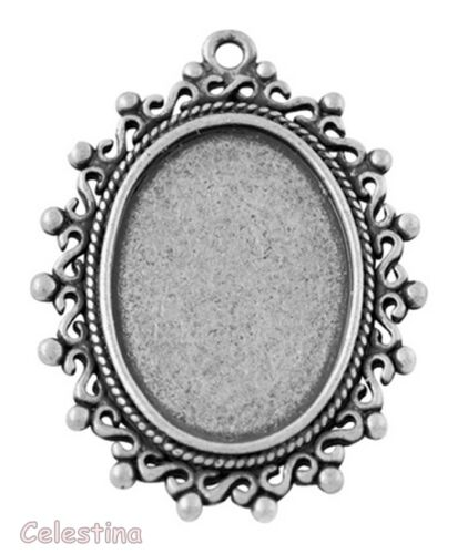 38mm 2 Antique Bronze or Silver Oval Cabochon Settings Bezel Pendant Trays