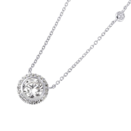 ROUND CLUSTER NECKLACE PENDANT W// LAB DIAMONDS//925 STERLING SILVER 18/'/' CHAIN