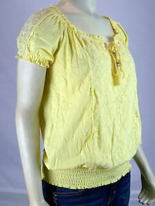 Style Co New Yellow 100 Cotton Lace Peasant Top Womens Size Pp