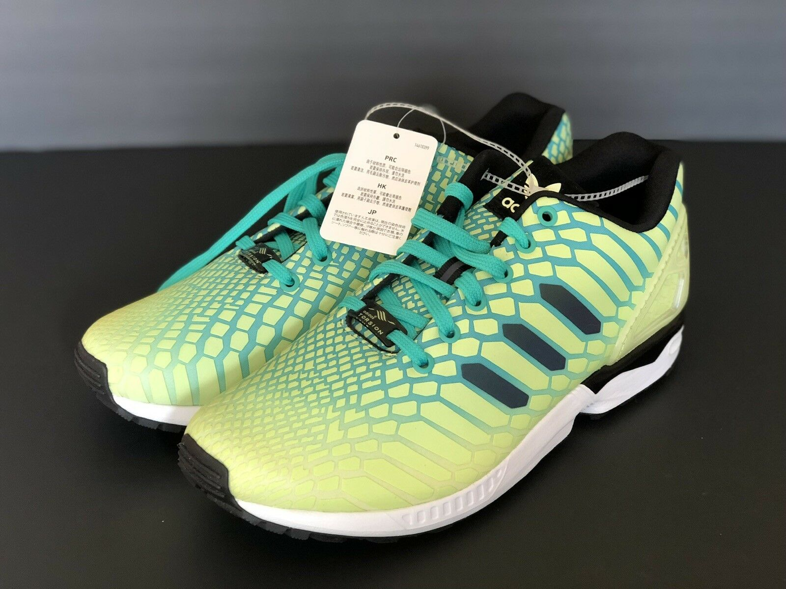 c5301587aba8f New Adidas ZX Flux Xeno Mens Size 9.5 Frozen Yellow Glow In The Dark 8AQ8212