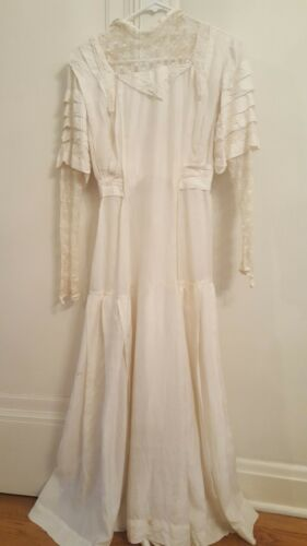 Antique Off White Victorian Silk and Lace Wedding