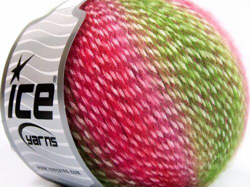 15/% Mohair Yarn Green Red Pink Lot of 8 Skeins Ice Yarns MIRELLA