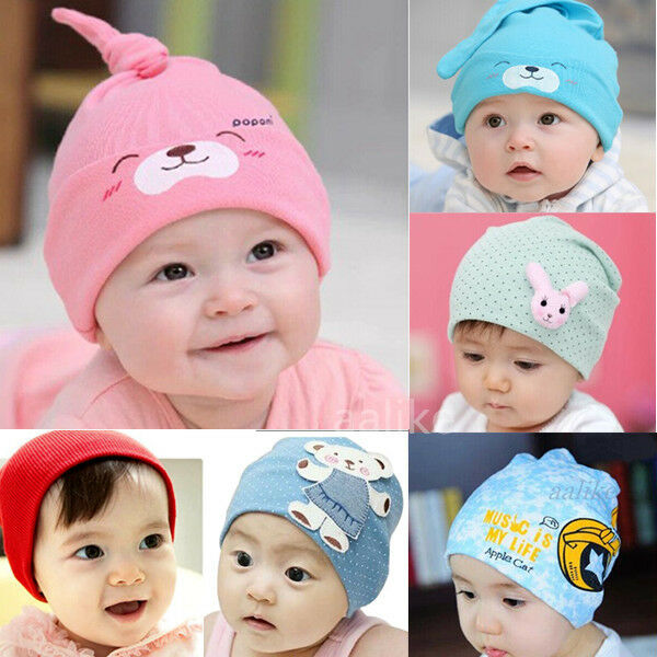 Baby Kids Child Warm Cotton Beanie Dot Bear Rabbit Knit  Crochet Cap Infant Hat