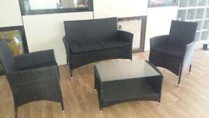 Set divano poltrone tavolino salotto giardino polyrattan nuovo con