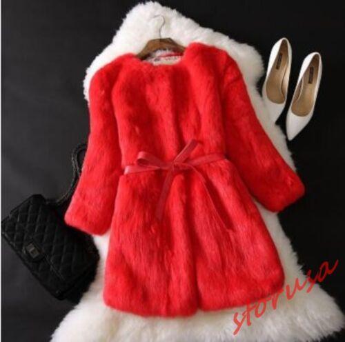 Women Faux RABBIT FUR Furry Mid Long Jacket Coat Outwear Winter Warm Size 3XL