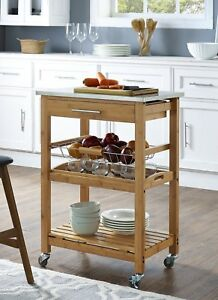Small Kitchen Cart Bamboo Stainless Steel Top Island On Wheels