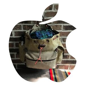 VINTAGE-HAND-WAXED-DUCK-CANVAS-amp-LEATHER-MACBOOK-BACKPACK-RUCKSACK-BAG-R-1198