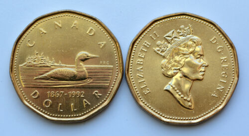 1867-1992 Canada Double Date 1$ Loonie Hard to Find UNC