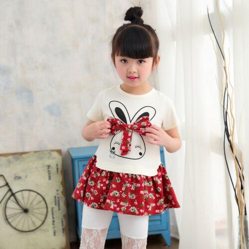 Toddler Kid Baby Girl Rabbit Princess Hoodie Dress Outfit Long Sleeve Mini Dress