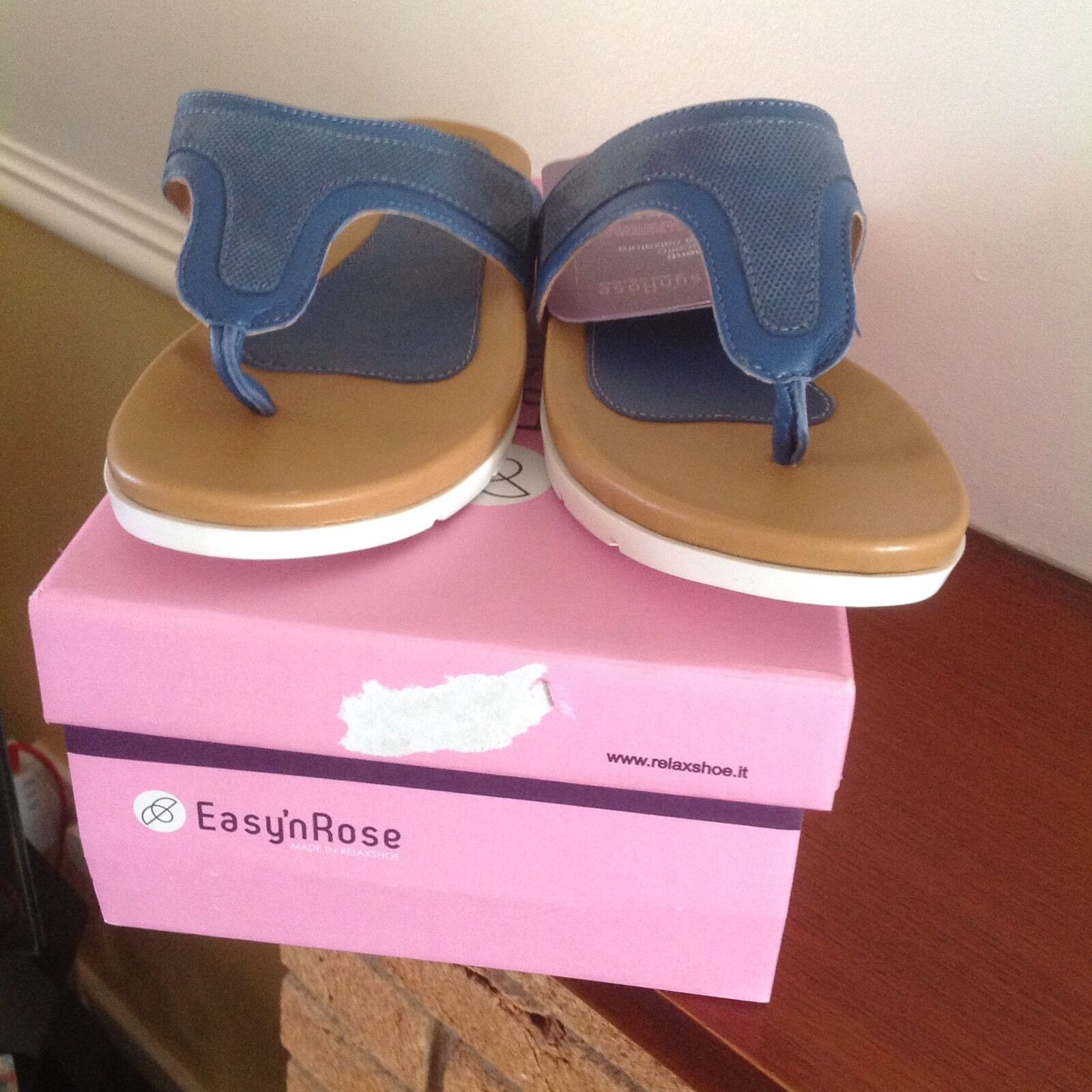 Easy'nRose Leather Sandals in Navy size UK 6 EU 39
