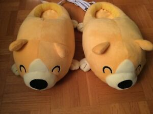 Cute-Kawaii-Dog-Puppies-Corgi-Plush-USB-Heated-Slippers