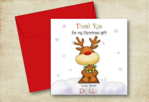 A REINDEER CHRISTMAS GIFTS PRESENTS THANK YOU CARD SON DAUGHTER GRANDSON NIECE