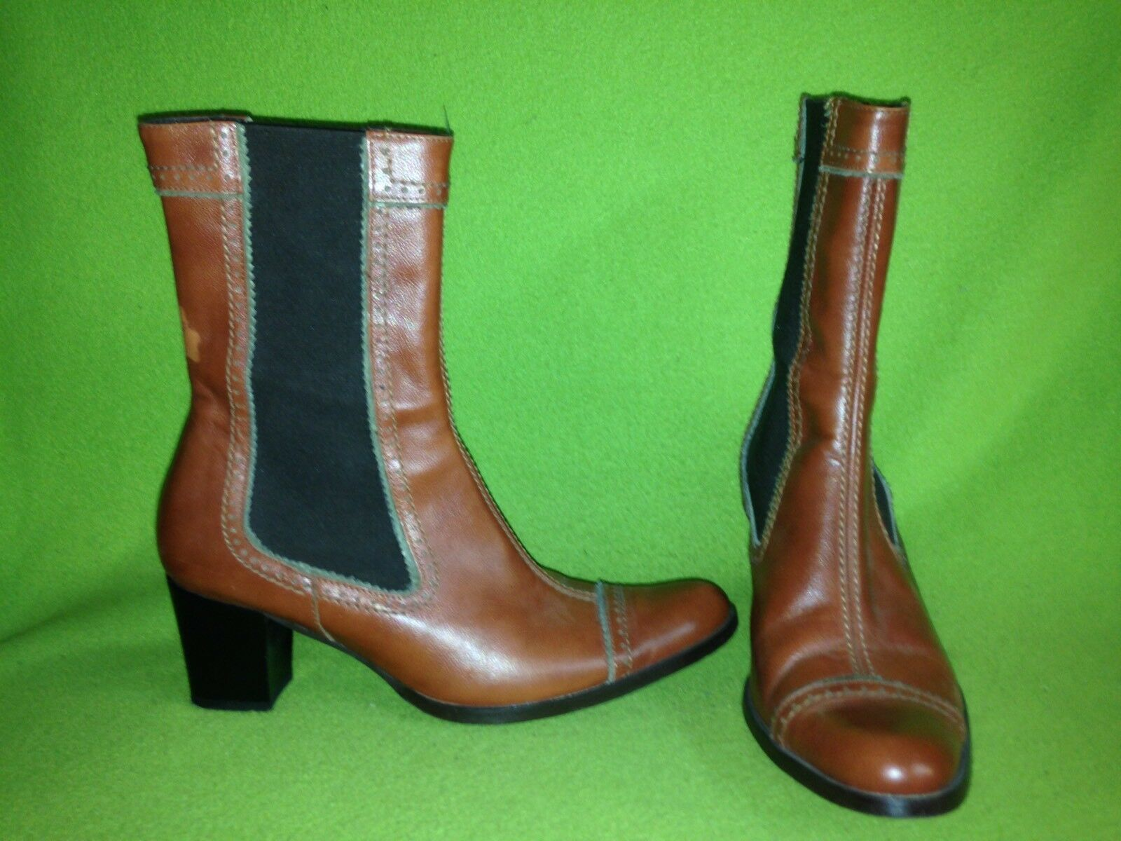 Reddish Brown Stephane de Raucourt Mid-Calf Boots with Elastic Sides Sides Sides 8 39 750cca