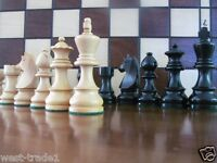 """BRAND NEW ♚  GERMAN KNIGHTS EBONIZED  ♞ WEIGHTED WOODEN CHESS PIECES 3.5"""""""
