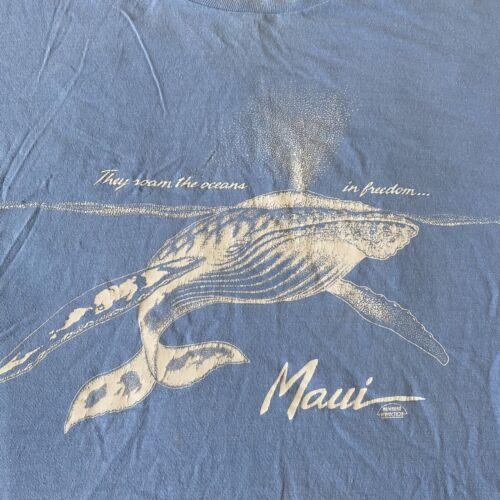 Mayo Spruce Vintage 80s XL Maui Whales Blue T Shir