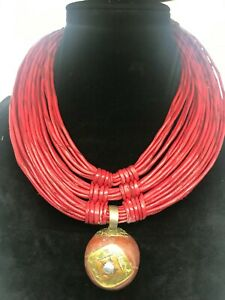 African-hand-made-tuareg-amber-leather-weave-necklace