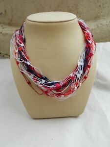 Fibrations Handcrafted Fiber Necklace - Red White and Blue