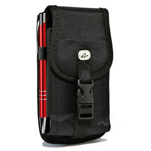 For-Alcatel-Insight-Metal-Belt-Clip-Holster-Rugged-Nylon-Vertical-Pouch-Black