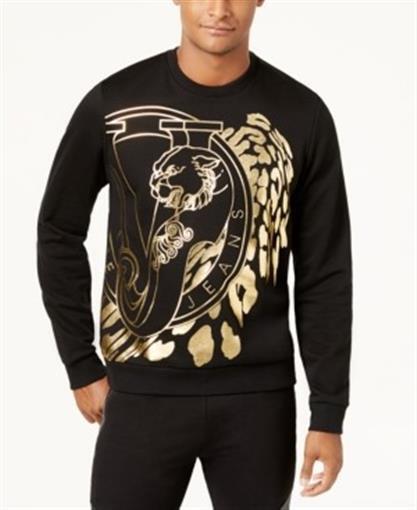 712333b9 Versace Jeans Men's Metallic Logo Sweatshirt Black Gold Large for sale  online | eBay