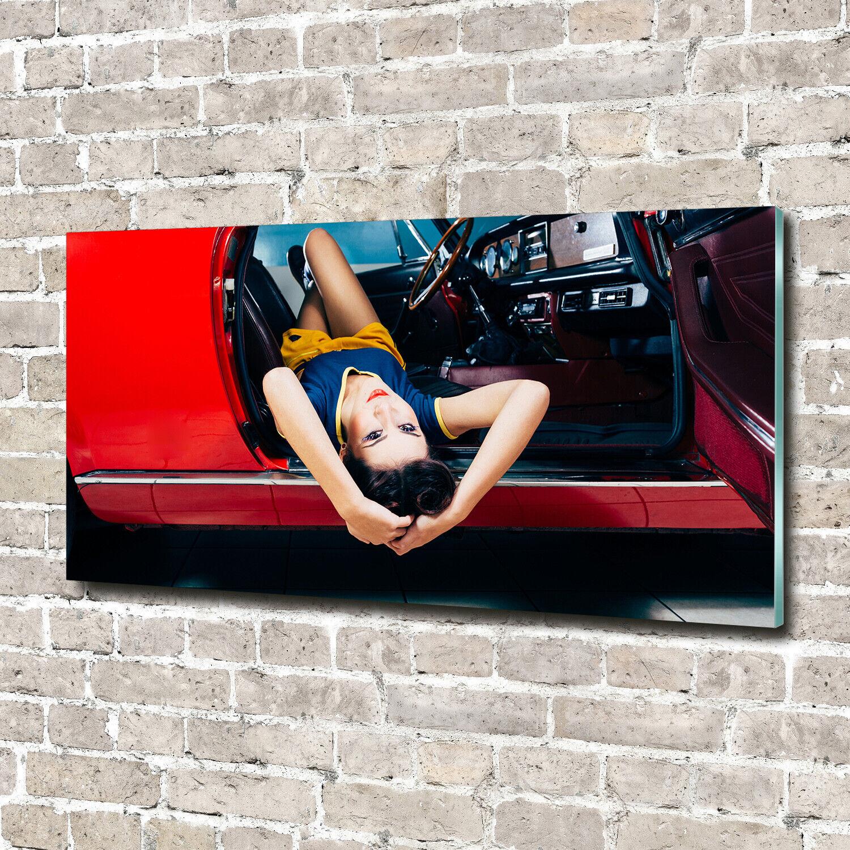 Acrylglas-Bild Wandbilder Druck 140x70 Deko Sinnlichkeit  Frau im Auto