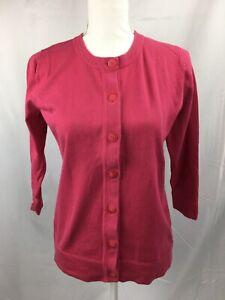 Eddie-Bauer-Women-s-Size-M-Medium-3-4-Sleeve-Pink-Button-Up-Sweater-Cardigan