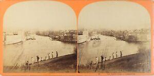 FRANCE-Marseille-Le-Vieux-Port-Photo-Stereo-Vintage-Albumine-ca-1865