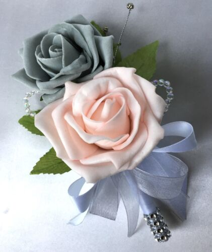 BABY PINK /& GREY ROSES ARTIFICIAL WEDDING FLOWERS DOUBLE BUTTONHOLE