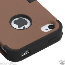 APPLE iPHONE 4 4S MULTI LAYER TUFF HYBRID CASE SKIN COVER COFFEE BLACK