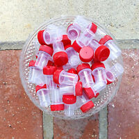 12 Tiny Tubes Vial Red Cap Container Mining Powder Herbs Geocache 2204 Decojars
