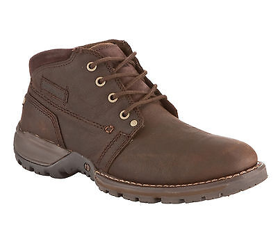 CAT Caterpillar Depict Hi Expresso Brown Leather Ankle Mens Chukka Boots UK12