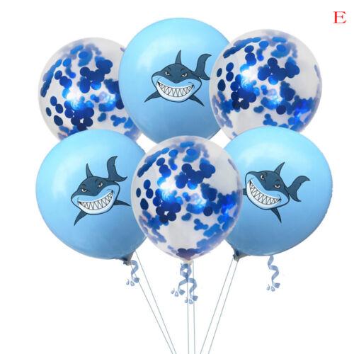 10pcs Shark Balloon Latex Confetti Balloons Birthday Party Baby Shower Decor GCS