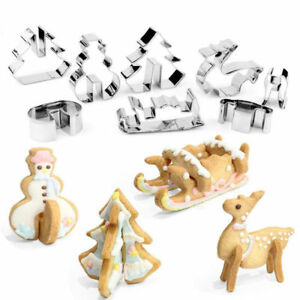 Cookie Cutter Christmas.Details About 3d Christmas Scenario Cookie Cutter Set Cake Decoration Stainless Steel Biscuit