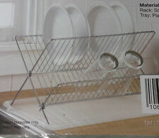 Folding Kitchen Steel Folding Dish Rack And Drain Board Set Durable Lightweight