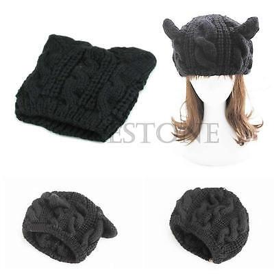 Devil Horns Cat Ear Winter Beanie Crochet Braided Knit Ski Wool Cap Hat Women