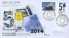 """FDC Council Europe """"1st Day Service stamp, 50 years European Pharmacopoeia"""" 2014"""