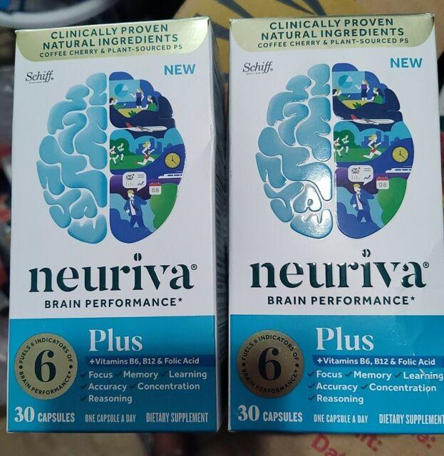 TWO 30ct Schiff Neuriva Plus 2022 Fast-Acting Brain Performance 60 Capsules