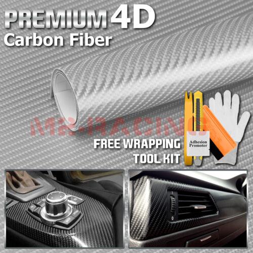 5ftx5ft **5/'x5/' 4D Gloss Silver Carbon Fiber Sticker Decal Car Vinyl Wrap Bike