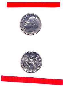 1987 D Roosevelt Dime ~ Uncirculated Coin in Mint Cello