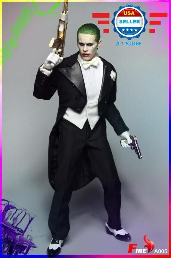 1 6 cabeza esculpida de Joker Jarojo Leto Tuxedo Traje Disfraz Conjunto oro AK47 escuadrón de suicidio