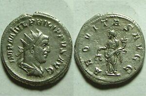 Rare-ancient-Roman-silver-coin-Antoninianus-Philip-244AD-Antioch-Aequitas-scales