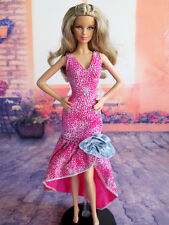Doll Dress ~ Mattel Barbie Silver Rose Long Party Gown Dress 1pcs #D1731 NEW
