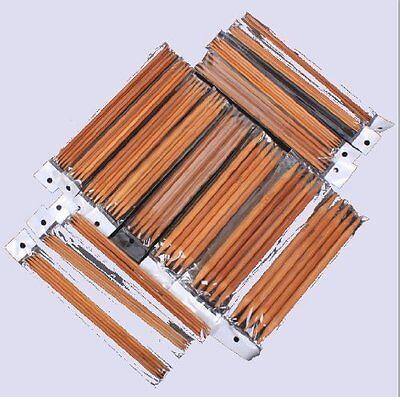 Ostart 5 Sets of 15 Sizes 8'' (20cm) Double Pointed Carbonized Bamboo