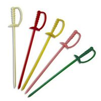 1000 Royal Plastic Cocktail Appetizer Swords Picks Toothpicks - 5 Color Choices