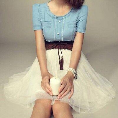 Vintage Women Jean Denim Chiffon Summer Girl Party Dress With Belt SG1624