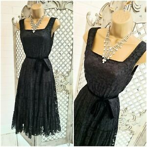 PHASE EIGHT 💋 UK 10 Stunning Gothic Black Lace Fit & Flare Dress ~Free P&P ~