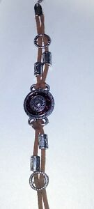 Brown-Leather-Wrap-Bracelet-With-Silver-Beads-amp-Decorative-Centrepiece-18cm